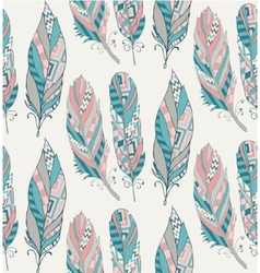 Hand drawn pattern with tribal feathers vector