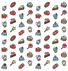 Seamless pattern of bakery and cake icons candy vector