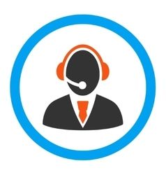 Call center worker rounded icon vector