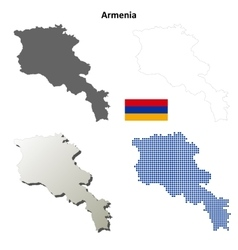 Armenia outline map set vector