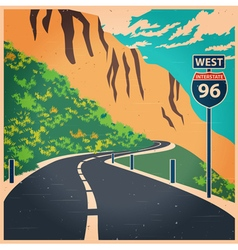 Winding mountain road old poster vector