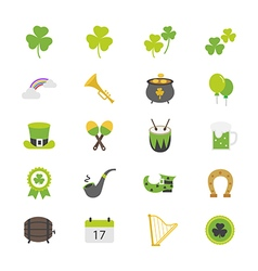 St patricks day flat color icons vector