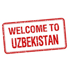 Welcome to uzbekistan red grunge square stamp vector