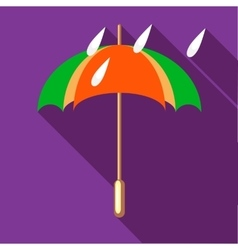 Colorful umbrella and rain drops icon vector