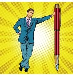 Businessman with fountain pen vector
