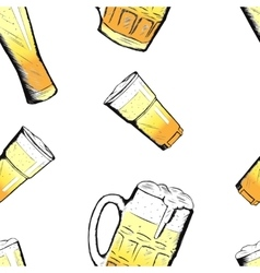 beer glasses and mugs in hand drawn style vector image
