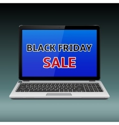 Black friday sale message on laptop vector