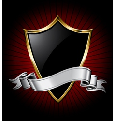 black shield and silver ribbon vector image vector image