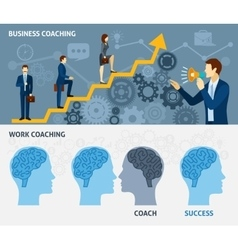 Business coaching horizontal flat banners set vector image