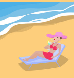 Cartoon woman lies on deckchair sandy beach vector