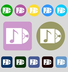Cd player icon sign 12 colored buttons flat design vector