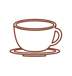 Cup coffee plate out line design vector
