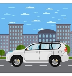Family universal citycar on road in city vector image vector image