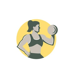 Female lifting dumbbell circle retro vector