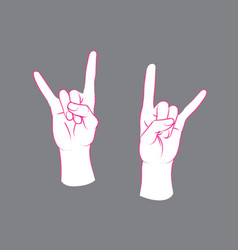 gesture rock sign two female hands with index vector image