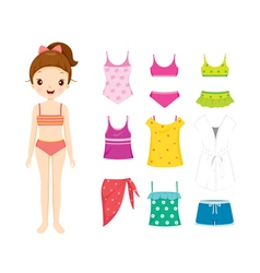 Girl In Bikini And Clothes Set For Summer vector image vector image