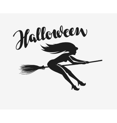 Halloween silhouette beautiful young witch flying vector