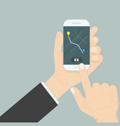 hand and mobile smart phone with map gps vector image