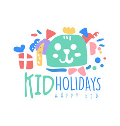 kid holidays happy kid logo template colorful vector image