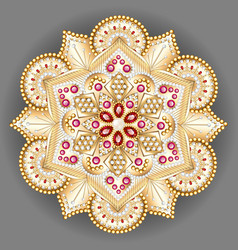 Mandala brooch jewelry design element geometric vector