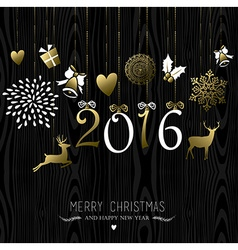 Merry Christmas New Year 2016 card gold decoration vector image
