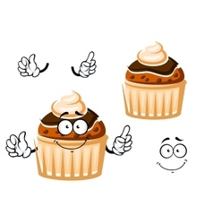 Muffin with chocolate glaze and cream vector image vector image