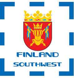 national ensigns flag and emblem of finland - vector image