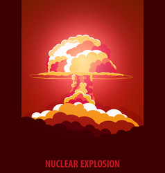 nuclear explosion cartoon retro poster mushroom vector image
