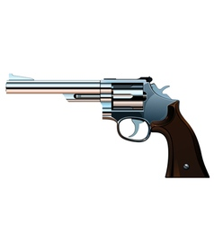 Old bright silver revolver vector
