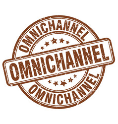 Omnichannel brown grunge stamp vector