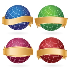 planet globes in golden ribbons vector image vector image