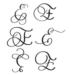 set of art calligraphy letter e with flourish of vector image