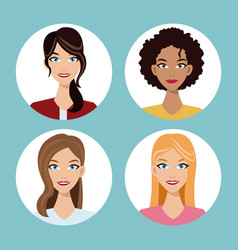 Set women friends community vector