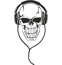 Skull in stereo ear-phones vector