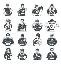 Superhero Black White Icons Set vector image vector image