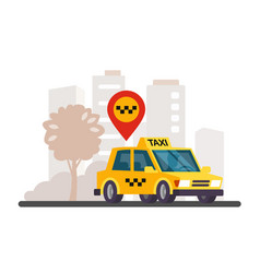 Taxi in the city panorama vector