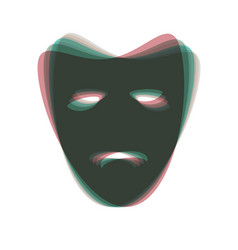 Tragedy theatrical masks colorful icon vector