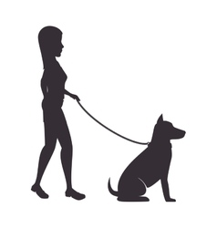 Woman with dog isolated icon vector