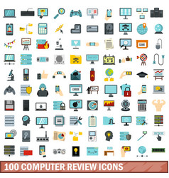100 computer review icons set flat style vector