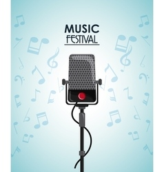 Microphone music note sound media festival icon vector