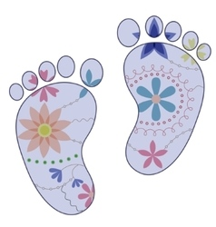 Baby feet painted silhouettes vintage boy vector
