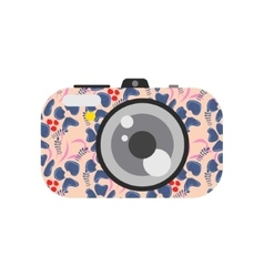 Photo digital camera with floral design vector