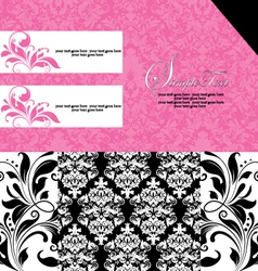 Black and pink damask invitation card vector
