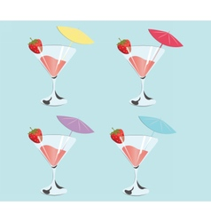 Cocktails with strawberries vector image