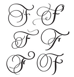 set of art calligraphy letter f with flourish of vector image