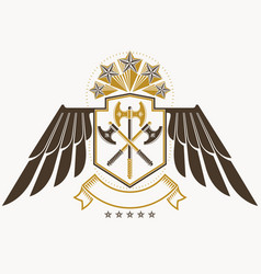 vintage decorative heraldic emblem composed vector image