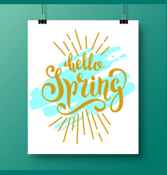 Poster with a handwritten phrase-hello spring 5 vector