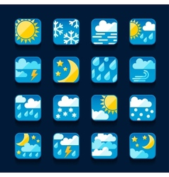 Weather icons set in flat design style vector