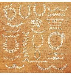 Laurels set - banner frame design elements hand vector image