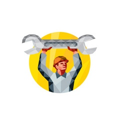 Mechanic spanner wrench circle low polygon vector